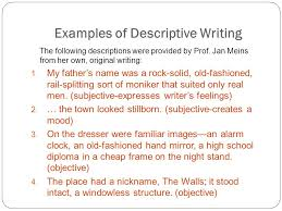 an organizational approach using various patterns of essay examples of descriptive writing the following descriptions were provided by prof