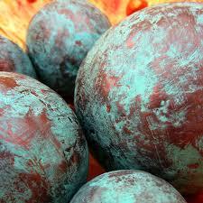 Decorative Sphere Balls Copper and Turquoise Blue Handmade Papier Mache Accent Balls Set 55