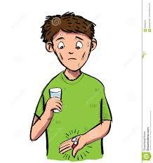 Karikatur Des Mannes Erschrak Von Einer Pille Und Von Einer Kapsel