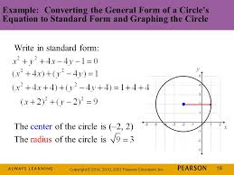 16 copyright 2016 2010 2007 pearson education inc 16 example converting the general form of a circle s equation to standard