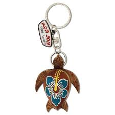 ron jon wooden turtle keychain