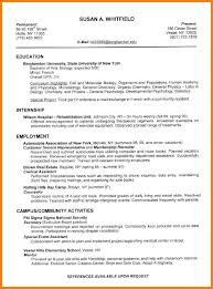 Curriculum Vitae Format For College Students Curriculum Vitae Sample