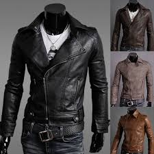 hot new stylish men s slim fit pu faux leather rider jackets