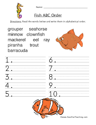 Alphabetical Order Alphabetical Order Worksheet Fish Have Fun Teaching