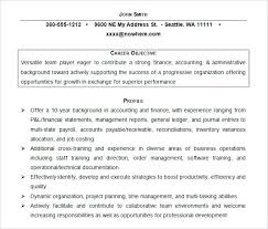 Accounting Resume Objectives Canadianlevitra Com