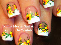 Easy French Mani Nails with Yellow Flowers! DIY Neon Nail Art ...