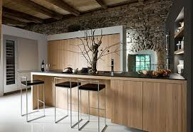 Awesome Modern Rustic Kitchen Design With Brown Cabinet And Iron Chairs