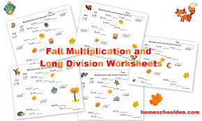 Fall Multiplication and Division Worksheets (Free) - Homeschool Den