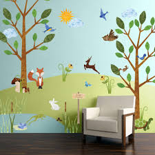 my wonderful walls forest multi l and stick removable wall decals woodland critters theme wall mural 83 piece jumbo set stk1012 the home depot