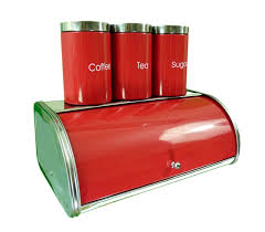 Retro Kitchen Canisters Tea Coffee Sugar Set Red Coffetable