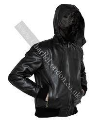 cl025 mens leather jacket with zip out hood