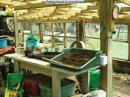Potting Table Potting Bench In Greenhouse Potting Benches Pinterest