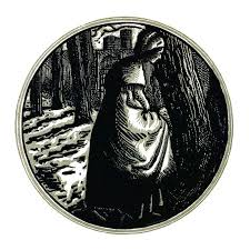a woman stands in the woods at night praying in front of an oak frontispiece