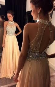 Champagne <b>Chiffon</b> Prom Dresses Crystals <b>Beaded</b> Sleeveless ...