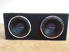 audiobahn subs car subwoofers two 12 inch audiobahn aw1251t sub woofers in sealed box enclosure