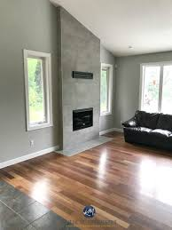 benjamin moore stonington gray living room wood flooring cement colour gray tile fireplace vaulted kylie m interiors e design