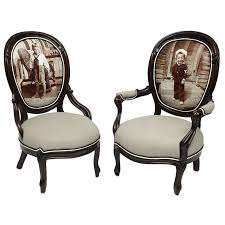 Pair of Victorian Sailor Boy Giclee Parlor Chairs For Sale at