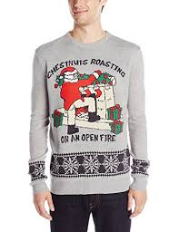 3-Santas-Mens-Chestnuts-Roasting-Ugly-Christmas-Sweater- 3 Santas Men\u0027s Chestnuts Roasting Ugly Christmas Sweater