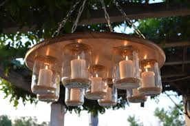 mason jar chandelier wedding patio decor rustic decor candle chandelier 189 95 via