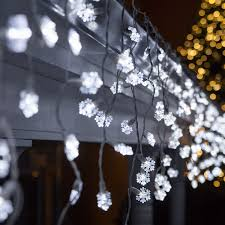 LED Christmas Lights - 70 Cool White Snowflake LED Icicle Lights