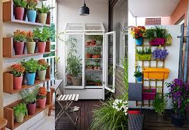 balcony garden. Line A Wall With Shelves And Decorate Different Pots. You Can Experiment The Various Kinds Of Plants. Create Vertical Garden By Using Fences Balcony