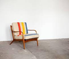 vintage chair. Vintage Chair Restored With Wool Blanket.