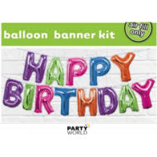 Happy Birthday Balloons Banner Multicoloured Happy Birthday Balloon Banner Kit