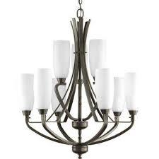 wisten 9 light antique bronze chandelier with etched glass