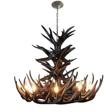 homelava antler chandelier antler pendant lighting with 9 bulb lights black 1