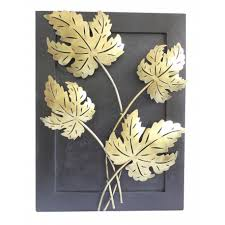 skillful leaf wall decor home design ideas wooden frame wrought iron maple the ethnic story art bronze big by