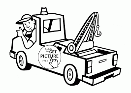 Tow Truck And Driver Coloring Page For Toddlers Transportation