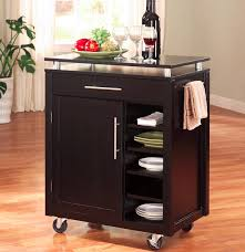 Kitchen Towel Storage Furniture Black Kitchen Cart Stainless Steel Top One Side Towel