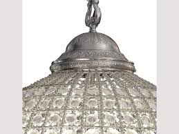 round crystal pewter chandelier with leaf decoration medium