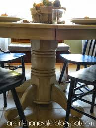 dining table with finishing glaze added pedestal detail