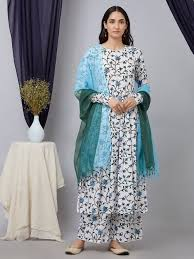 Kota Doria Suits Designs Buy Blue Green Mukaish Work Kota Doria Dupatta Online At