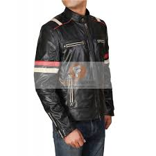 retro cafe racer classic motorcycle red stripe biker leather jacket men s leather jacket uk