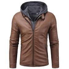 2019 leather jaket men new fashion fake two pieces knitted hooded winter jackets mens casual high quality motorcycle coat from vikey06 50 35 dhgate com