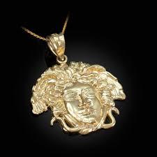 yellow gold medusa charm necklace 10k 14k