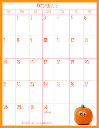 Printable October Calendar October 2018 Calendar My Calendar Land