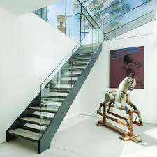 Office Stairs Office Commercial Building Stairs Steel Wood Frameless Glass Railing
