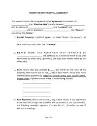 Month To Month Rental Agreement Template Month To Month Rental Agreement Free Sample Docsketch