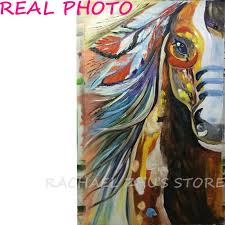 modern hand painted horse oil paints abstract pop horse oil painting on canvas handmade animal indian