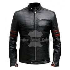 fight club hybrid mayhem black with red stripes retro men s biker leather jacket at leatherjacketcollection