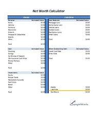 Business Net Worth Calculator Net Worth Calculator Business Forms Financial Asset Net