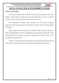 A Study On Indian Investors Investments & Analysis Of Their Behaviour…