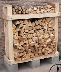 Wood And Cinderblocks Outdoor Firewood Racks