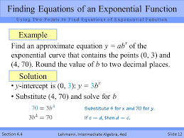 finding equations of an exponential function