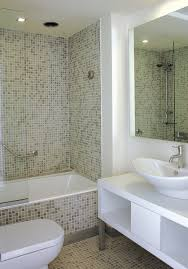 Interior Epic White Bathroom Decoration Using White Glass Mosaic Mirror Mosaic Bathroom Tiles