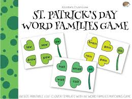 Word Families Template St Patricks Day Leaf Clover Word Family