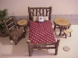 miniature doll furniture. rustic miniature dollhouse furniture set log cabin 1 inch scale bed tables chair stars rwb doll _